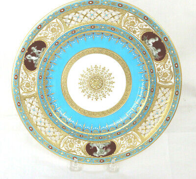 Mintons Reticulated and Jeweled Turquoise-Ground Plate. Catherine the Great