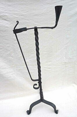 French Wrought Iron Rush Light Splint Candle Holder