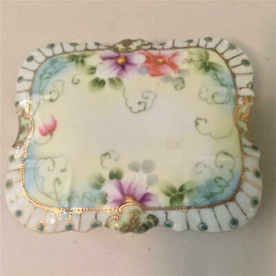 Japanese Porcelain Trinket Or Vanity Box & Lid - Hand Painted Floral Design!