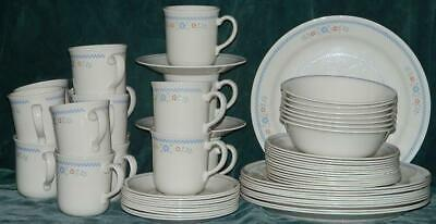 Corelle Needle Point 60 Pc Dinnerware Set Blue Checkerboard Red Flowers Plate +