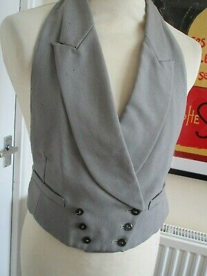 """Vintage Akco 1940s Dove Grey D/Breasted Waistcoat 38""""L"""