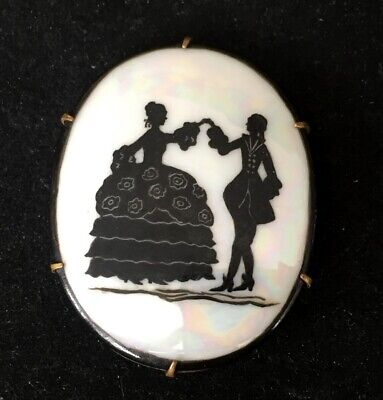 Vtg ANTIQUE Brooch Pin Art Deco or Victorian Lovers Scene Glass Jewelry lot s