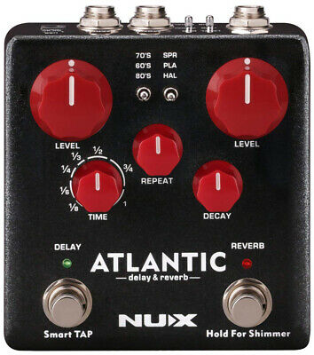 NUX Atlantic Multi Delay Reverb Effect Pedal Inside Routing Secondary Reverb FX