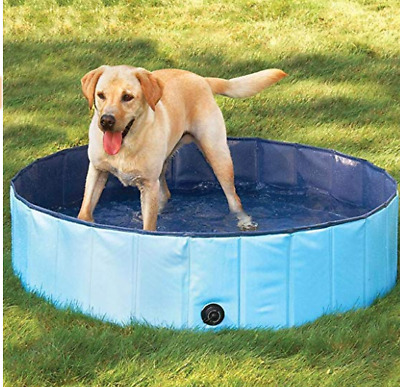 L Foldable Pet Pool Swimming Cat Dog Puppy Indoor Outdoor Dia.63inch Bule