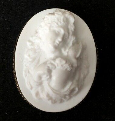 AS IS Vtg ANTIQUE Art Deco or Victorian WHITE GLASS CAMEO jewelry lot s