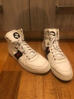 4a49e1174 100% Authentic GUCCI WHITE LEATHER GUCCISSIMA WEB HIGH TOP SNEAKERS 11C # 221825