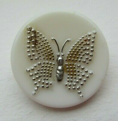Nice Antique~ Vtg White GLASS Picture BUTTON Silver Luster Butterfly Insect (g)