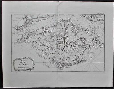 Great Britain Wigth Island Old French  Map