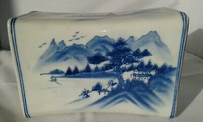 Rare Antique Chinese Blue And White Porcelain Pillow Qing 19th Cent.