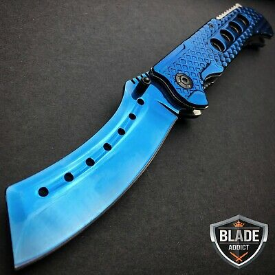 "9"" TACTICAL Razor Spring Assisted Open Folding Pocket Knife BLUE CLEAVER New -S"