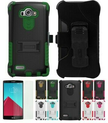 New Tri-Shield Rugged Case Stand + Belt Clip Holster + Screen Guard For Lg G4