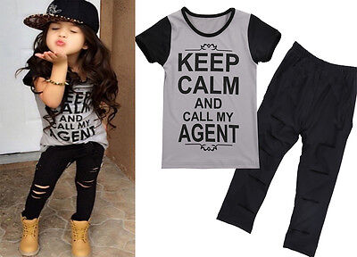 2PCS Toddler Baby Girl Outfits T-shirt Tops+ Hole Pants Kids Clothes Set