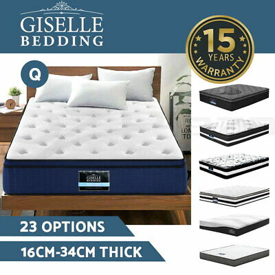 Giselle Queen Mattress Bed Size Euro Top Pocket Bonnell Spring Memory Foam Firm