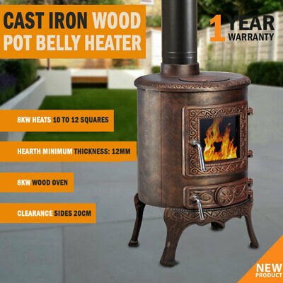 NEW 8KW Cast Iron Wood Pot Belly Heater Slow Combustion Heat Up To 12 Square