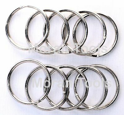 10 x Split Rings 35mm large Chrome Metal Steel Loop Hook O Ring Pack keyring