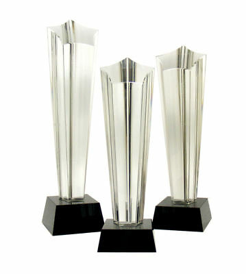 Personalised Crystal Glass Star Column Trophy Engraved Award