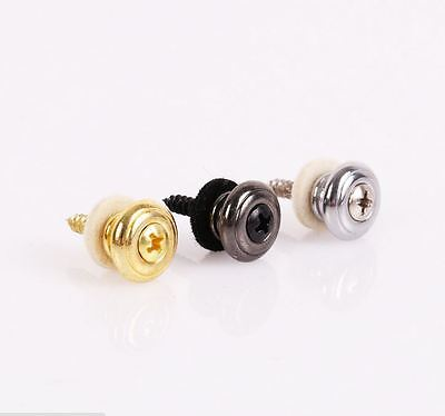 2 Pcs Guitar Strap Buttons Strap Locks Straplocks Mushrooms Heads Chrome`FR