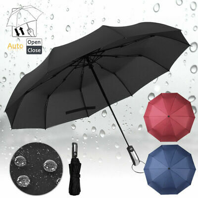 10 Ribs Portable Strong Frame Umbrella Automatic Open Foldable Travel Sun Shade