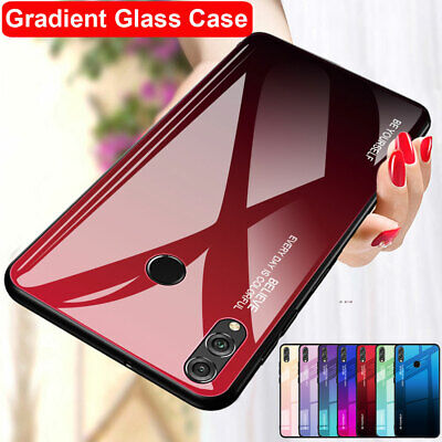 Gradient Tempered Glass Case For Huawei Y9 2019 P Smart + Nova 3 3i Hybrid Cover