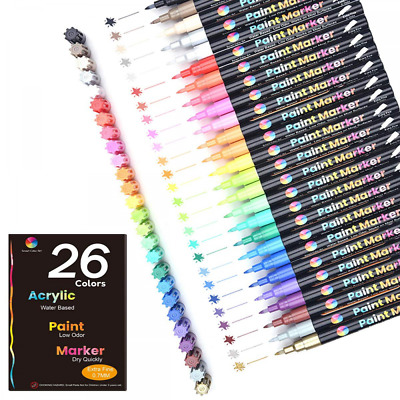 Acrylic Paint Markers26 Colors Extra Fine Point Pens Set by Smart