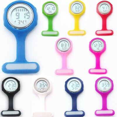 Electronic Multi-function Digital Silicone Nurse Watch Brooch Fob Pocket Watch