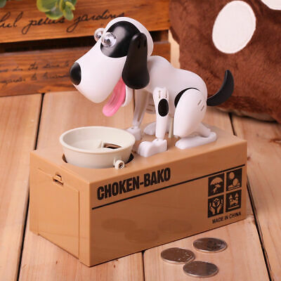 Coin Money Saving Boxes Piggy Bank Toy Kids Gift Choken Hungry Eating Dog/Cat