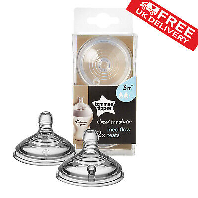 Tommee Tippee Closer to Nature Medium Flow Teats Nipples Bottle Baby Feeding x 2