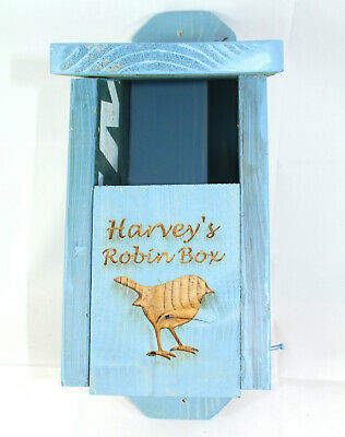 Robin Bird Box Wooden Personalised painted blue Handmade by Bee Beautiful