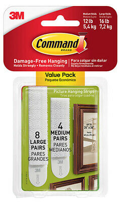 3M Command Picture Hanging Strips 8 Large & 4 Medium Strips Per Pack Damage Free
