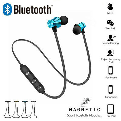 Magnetic Bluetooth Wireless Earphone Sports Headphones For iPhone Samsung Xiaomi