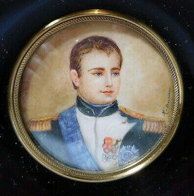 "Painting MINIATURE 19th C ""Superb Portrait of NAPOLEON BONAPARTE in uniform"""