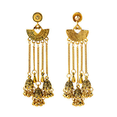 Fashion Women Jewelry Bohemia Indian Charm Gold Long Tassel Bells Retro Earrings