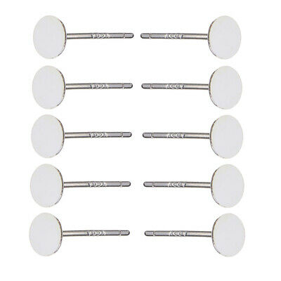 10pcs Ear Stud Post Blank Earrings Findings 3mm Round Flat Pad For Cabochons