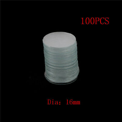 100Pcs 16mm Blank Round Microscope Cover Glass Cover Slips for Lab Medical  LTA
