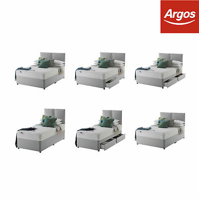 Silentnight Hatfield Memory Divan Bed - Grey - Choice of Size and Storage.