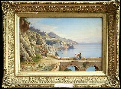 Guglielmo Giusti (1824-1916) Signed Italian Oil On Panel Figures Sorrento Coast