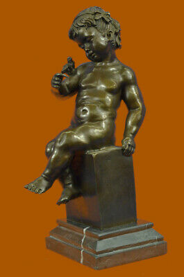 Bronze Dark Brown Patina Statue Sculpture Young Girl  Bird Art Deco Figure Sale