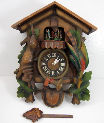 Vintage Black Forest Wood Cuckoo Coo Coo Hunter Regula Clock Germany For Parts