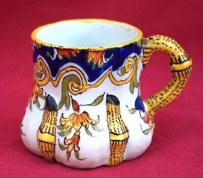 DESVRES FOURMAINTRAUX Freres Small Gobelet Cup French Hand Painted Faience 1880'