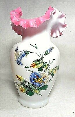 Antique Victorian White & Cranberry Fluted Hand Painted Enamel Flower Glass Vase