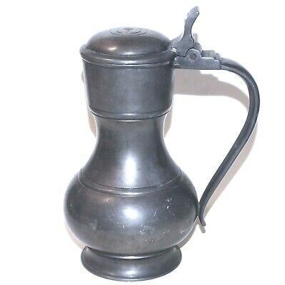 """VERY NICE ANTIQUE PEWTER FLAGON 6""""12oz PITCHER W/HALLMARKS SEE ALL DETAIL PHOTOS"""