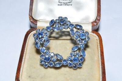 Wonderful Vintage Art Deco Stone Set Open Backed Flower Brooch In Blue
