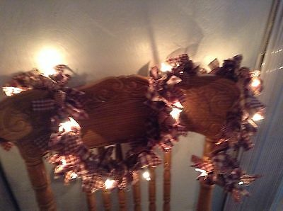 Country, primitive 10' barn red and tan garland, swag  hand tied With Lights