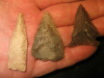 3 Authentic Central Texas Prehistoric Arrowheads, Ancient Indian Artifacts, #L3