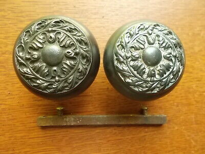 """Two Antique Fancy Victorian Iron Doorknobs """"Chatham"""" 1905 by Russell Erwin"""