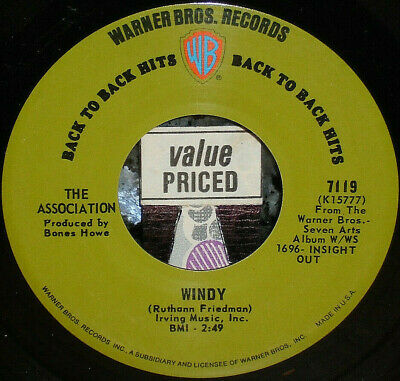 """< 2 Association '67 Hits! #1 """"Windy"""" & #2 """"Never My Love"""" Clean M- 45/Sleeve"""