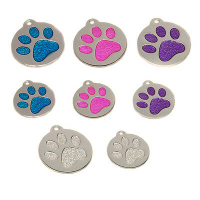Round Reflective Glitter Paw Dog Cat Pet ID Tags Disc Engraved Free In Two Sizes