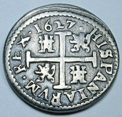 1627 Spanish Silver 1/2 Reales Piece of 8 Real Coin Colonial Era Pirate Treasure