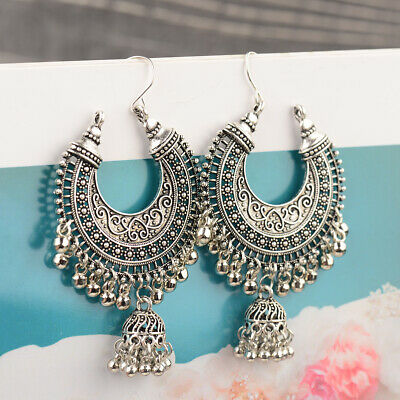 Indian Vintage Bollywood Oxidized SilverPlated Traditional Jhumka Jhumki Earring