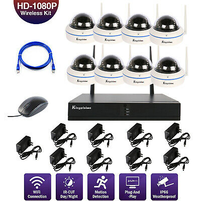 4/8 CH 1080P HD Wireless WIFI Outdoor Dome CCTV Home Camera Security NVR System